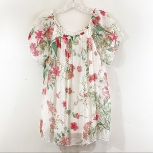 Luisa Ricci Italy Silk Floral Layered Blouse Top